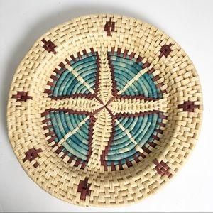 "Vintage Southwestern Woven Raffia Round Basket 16"""